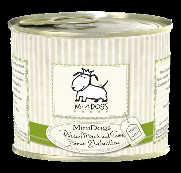 Just4Dogs MiniDogs Puten-Menü mit Reis, Birnen & Karotten