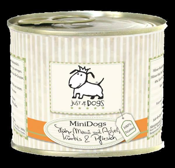 Just4Dogs MiniDogs Huhn-Menü mit Äpfeln, Kürbis & Pfirsich