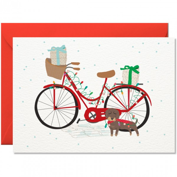 """Nelly Castro Weihnachtskarte """"Weihnachten mit Fahrrad und Dackel"""""""