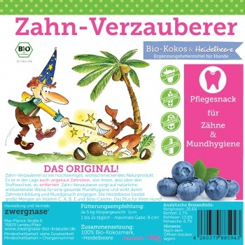 "Zwergnase ""Zahn-Verzauberer"" Kokos-Heidelbeer-Pflegesnack"
