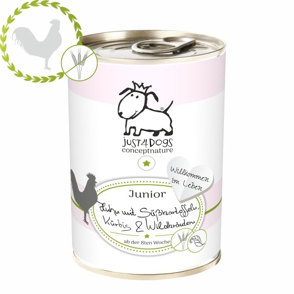 "Just4Dogs ""Junior"" Huhn mit Süßkartoffeln, Kürbis & Wildkräutern"