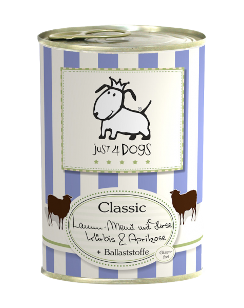 Just4Dogs Classic Lamm-Menü mit Hirse, Kürbis & Aprikose