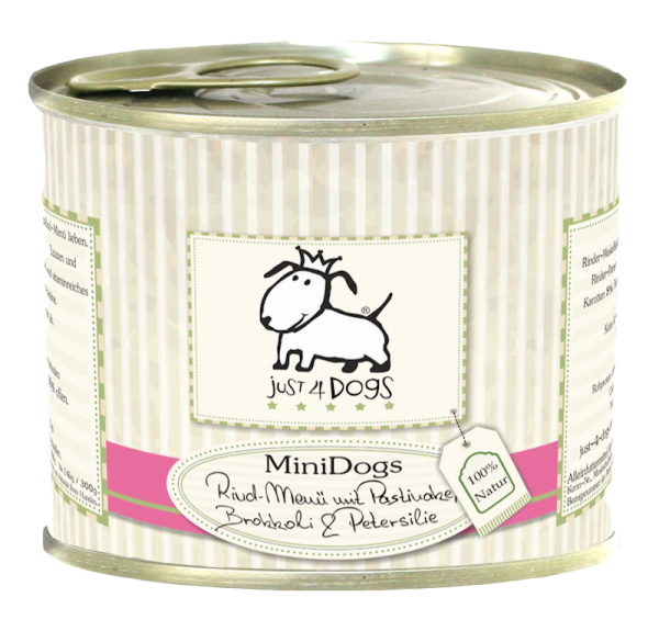 Just4Dogs MiniDogs Rind-Menü mit Pastinaken, Brokkoli & Petersilie